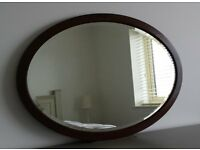 Old Mahogany bevelled glass Oval Mirror