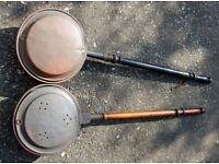 Two Original Antique Copper Bed Warming Pans