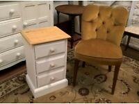 Solid Pine Bedside Table Chest of Drawers in Vintage White