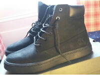 Women's Black Leather Timberland Boots-Size 6