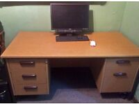 OFFICE DESK, Light Oak effect with metal frame. Very Good Condition.