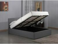 MODERN FABRIC GAS LIFT STORAGE BED 4FT SMALL DOUBLE BED FRAME