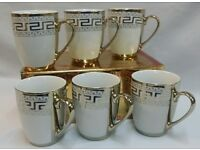 NEW 6 GOLD DESIGNER DESIGN TEA / COFFEE MUGS