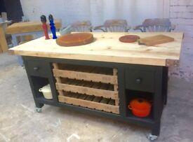 Freestanding kitchen island breakfast bar Apple crate drawers