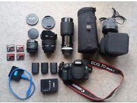 Canon 7D MK II/MARK 2 DSLR CAMERA - 50mm f1.4, 16mm f2.8, lots of accessories, Mint.