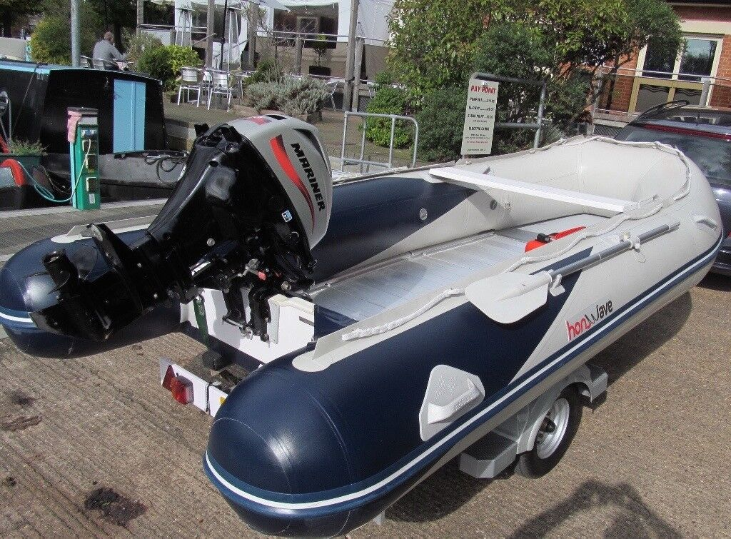 Honwave T40 4M 7 man Semi RIB inflatable boat 4 stroke outboard + Bramber trailer. Fishing, Dive.