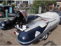 Honwave T40 4M 7 man Semi RIB inflatable boat 4 stroke outboard + Bramber trailer. Fishing, Dive.