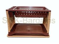 Plastic 2 Layer Tier Dish Drainer Rack Utensil Cutlery Kitchen Brown - LB Side