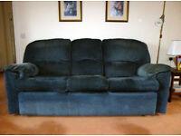 G Plan Chloe 3 seater blue fabric sofa (3 cushions) .
