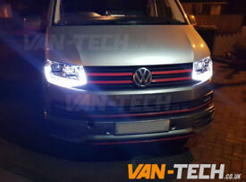 Brand new LED DRL Light Bar Headlights fitted to VW Transporter T6 Van