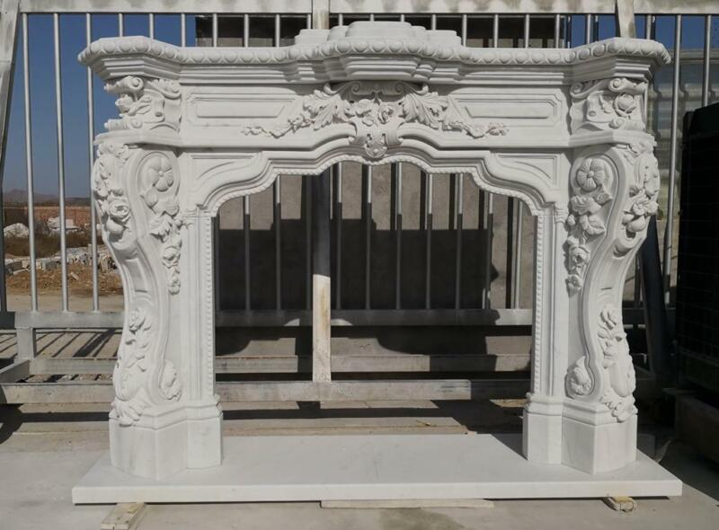 INCREDIBLE CARVED FRENCH STYLE ESTATE MARBLE FIREPLACE MANTEL - FFPM43