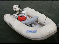 RIB Rigid Inflatable Boat 8 foot long rubber dinghy tender inflatible inflateable infloatable
