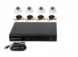 Brand New CCTV Security Survrillance Kit. 4x Dome cameras, cables, Internet enabled DVR & Hard Drive