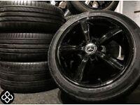 "GENUINE MERCEDES 17"" ALLOY WHEELS & CONTINENTAL TYRES - 5 X 112 - CRYSTAL BLACK- Wheel Smart"