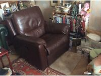 Recliner real leather sofa comfy