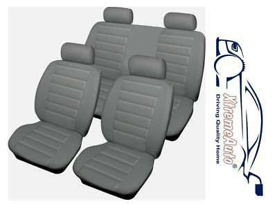 UNIVERSAL CAR SEAT COVERS Full Set Grey Leather Look Airbag Compatible
