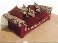 Burgundy & Beige floral sofa (Delivery Included)