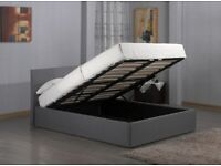 Fusion Fabric Storage bed frame in Grey   Double size Bed  