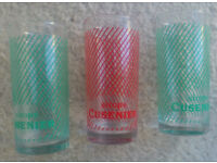 "Vintage-retro French tumblers ""Sirops Cusenier"" x 3 (ref SIROPS)"