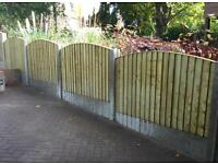🌲High Quality Heavy Duty Bow Top Feather Edge Close Board Fence Panels