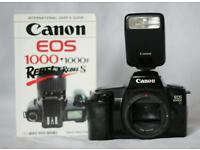 Canon EOS1000F, flash and book