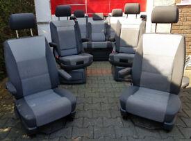 VW T5 Full Carevelle 7 seat set passenger and drivers folding rear bed