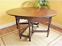 English Georgian 18th Century Oak Oval Dropleaf Gateleg Table