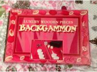 BACKGAMMON LUXURY WOODEN PIECES BY JOHN ADAMS LIMITED. COMPLETE AND VGC.