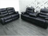 **BRAND NEW**3+2 BLACK LEATHER SOFA SET