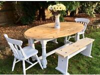 Farmhouse Pine Table, 2 Benches, 2 Chairs
