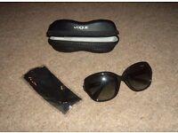 Black Vogue sunglasses/shades, Vogue cloth cleaner in Vogue case