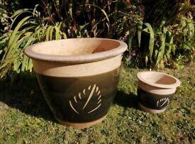 Vintage matching Part-Glazed Ceramic Pots with Motif: 1x Large 38cm & 1x Small 18cm