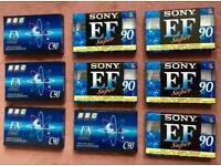 Blank Cassette Tapes 9 x C90 Sony EF super & BBC FX Super Ferric