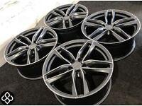 "BRAND NEW 19""AUDI STYLE ALLOY WHEELS- 5x112- GLOSS GREY WITH DIAMOND CUT FINISH- Wheel Smart"
