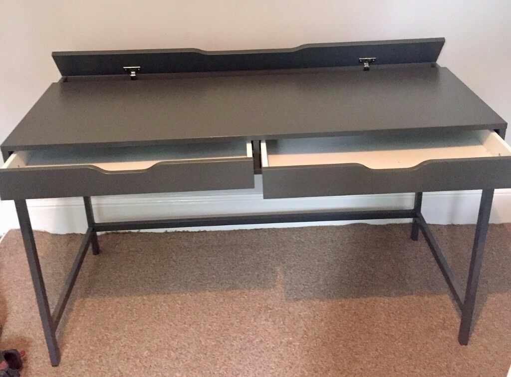 IKEA U0027ALEXu0027 GREY OFFICE DESK COMPLETE WITH 2 DRAWERS AND CABLE TIDY