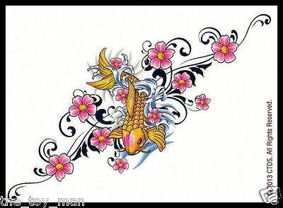 - JAPANESE KOI GOLD FISH PINK FLOWERS~TEMPORARY TATTOO BODY STICKER FOR WOMEN GIRL