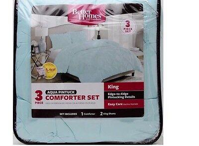 KING SIZE!! Better Homes and Gardens, Aqua Pintuck Bedding Comforter Mini