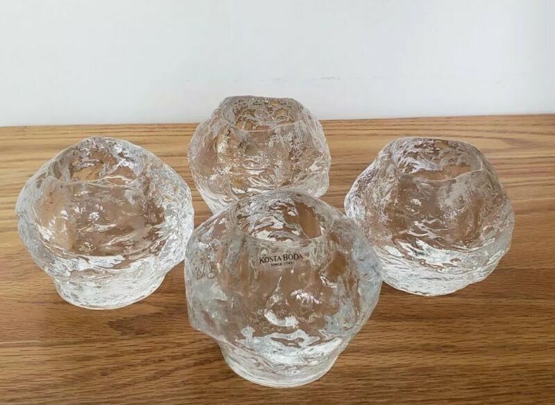 Kosta Boda Snowball Crystal Tealight Large Votive Candle Holders Set Of 4
