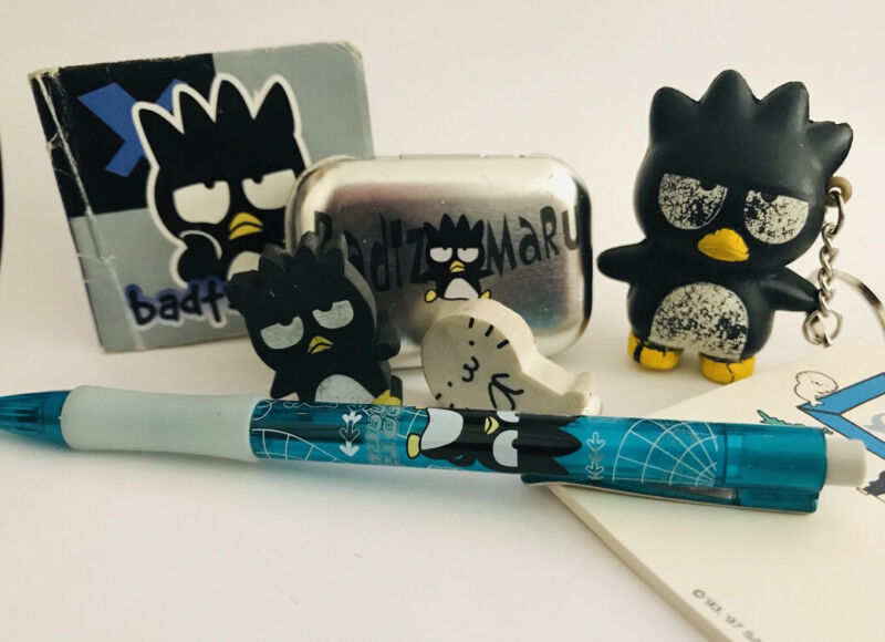 Vintage Sanrio Badtz Maru Stationary Sticker Pen Eraser Tin Stress Ball Lot 1996