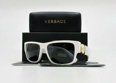 VERSACE Unisex Rectangular White/Gold Sunglasses w/ Box MOD 4369 401/87 58mm