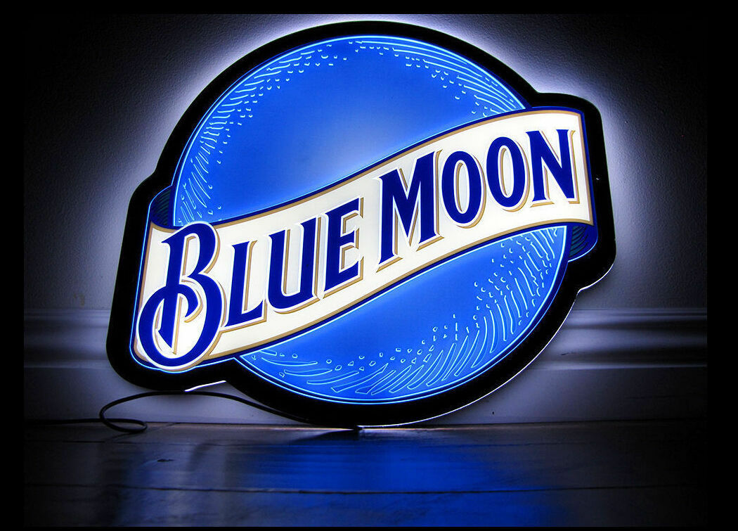 New Blue Moon LED Beer Bar Man Cave Neon Light Sign 14""