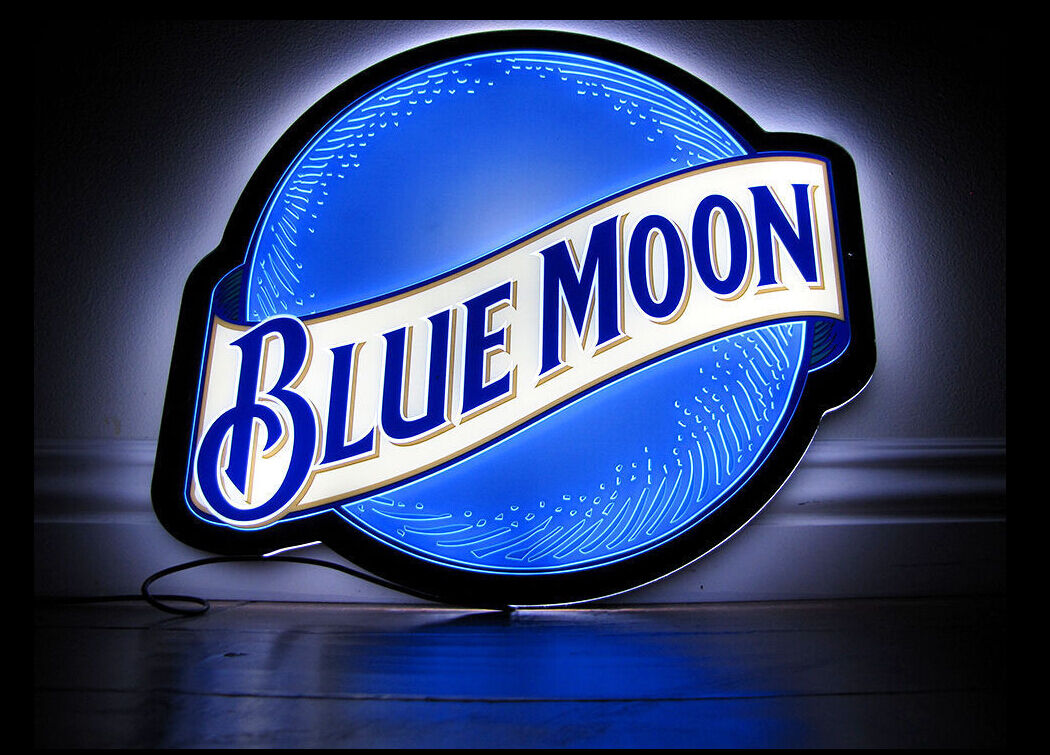 Brand New Blue Moon Neon LED Beer Bar Lamp Light Sign 14'' L