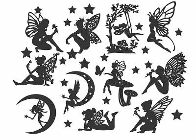 FAIRY Die Cut Outs Silhouette shapes x 11 Toppers + free stars. For Fairy Jars