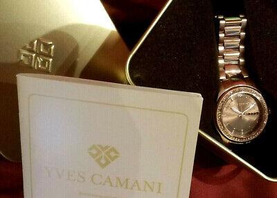 Damen Armbanduhr YVES CAMANI Montpellier Rosegolden Braun Zirkonia Kristalle NEU