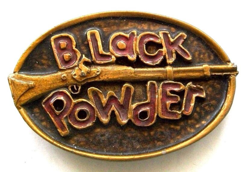 True Vintage BLACK POWDER MUSKET Metal & Painted Native Craftsmen Belt Buckle AO