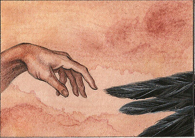 ACEO PRINT OF PAINTING CROW RAVEN RYTA STUDYING MICHELANGELO CREATION OF ADAM