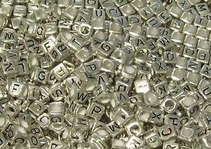100 6mm Silver Colour Alphabet Letters Cube Beads Square - App 4 of Each Letter