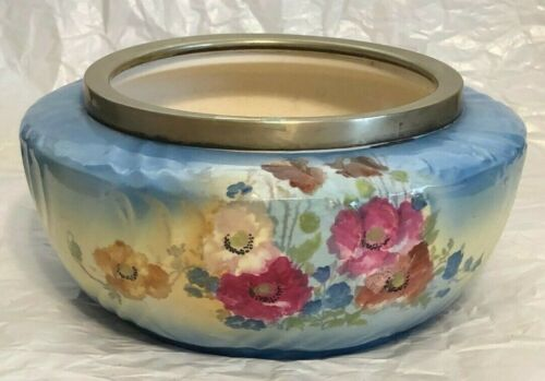 ANTIQUE PORCELAIN HAND PAINTED  FLOWERS  BOWL