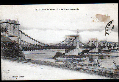 FOURCHAMBAULT (58) PONT Metallique suspendu , Bords de LOIRE en 1937