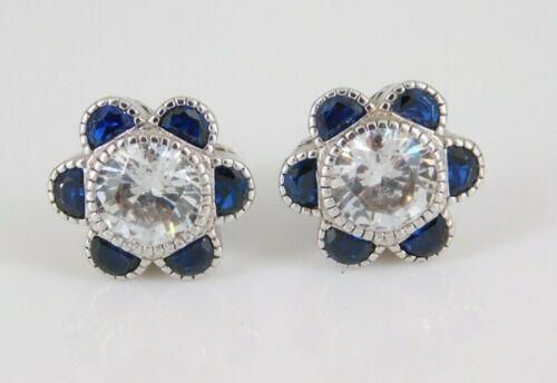 925 Sterling Silver CZ & Blue Spinel Earrings